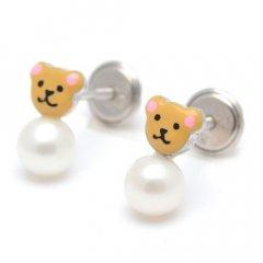 Pendientes botón La Petra 701 niña plata osito perla