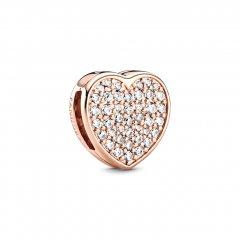 Clip Pandora Corazón en pavé 788684C01 mujer rose