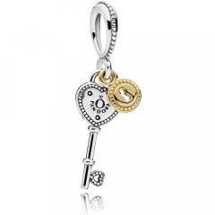 Abalorio Colgante Pandora 796593 Mujer Plata y Oro Llave de mi Corazón