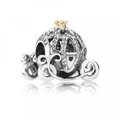 Abalorio Pandora 791573CZ mujer plata y oro Disney Carroza de Cenicienta