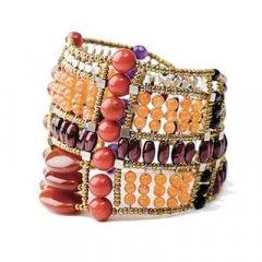 Brazalete Ziio jewelry BR SCOTTISH RED Mujer Plata Dorado Ágata
