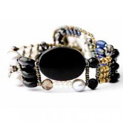 Brazalete Ziio jewelry BR THIN BLACK ONIX Mujer Plata Negro Perla