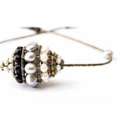 Cadena y colgante Ziio jewelry PDT TOUPIE BLACK PEARL Mujer Plata Perla