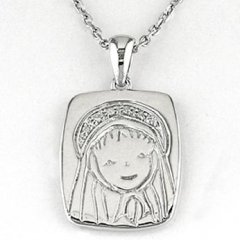 Cadena y medalla Bernat Rubí 6N625 Niña Plata Diamantes Comunión