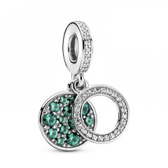 Charm colgante Pandora Doble Disco Verde Brillante 799186C02 mujer
