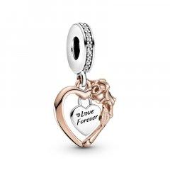 Charm colgante Pandora Rosé Corazón y Flor Rosa 789290C01 mujer