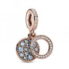 Charm colgante Pandora Rose Doble Disco Azul Claro Brillante 789186C03 mujer