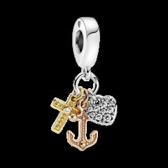 Charm cruz, corazón y ancla Pandora 799354C01