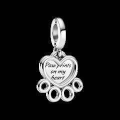 Charm Pandora corazones y patas 799360C00 plata