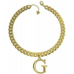 Collar GUESS logo UBN70079 mujer acero dorado