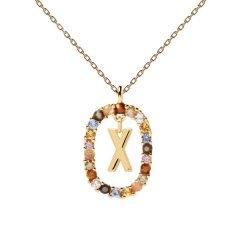 Collar P D Paola letra X CO01-283-U mujer dorado