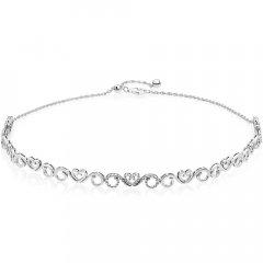 Collar Pandora 397129CZ-38 mujer plata Choker Remolinos de Corazón