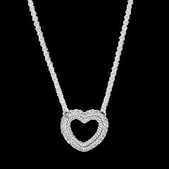 Collar Pandora Cadena de Serpiente y Corazón Abierto 399110C01-45 Mujer