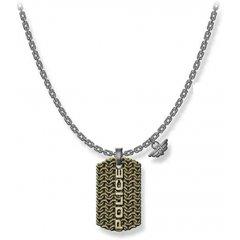 Collar Police hombre PJ.26565PSQG-03, acero, gris y dorado