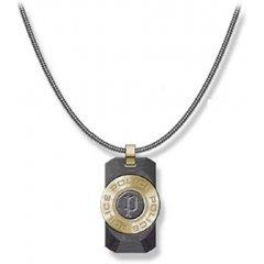 Collar Police hombre PJ.26567PSG-03, acero dorado, piedra negra
