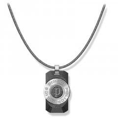 Collar Police hombre PJ.26567PSS-01, acero, piedra negra