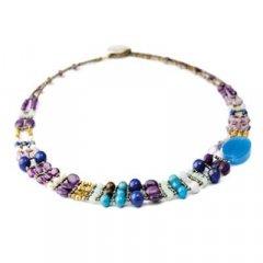 Gargantilla Ziio jewelry Necklace Thin Blue Onyx Mujer Plata Azul Ónix