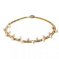Gargantilla Ziio jewelry NK Crown Pearl Mujer Plata Dorado Perla