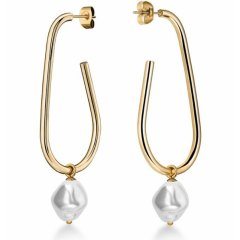 Pendientes de aro grandes de perla líquida Gold ROSEFIELD JLPHEG-J184 mujer