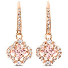 Pendientes Sparkling Dance Clover SWAROVSKI 5516477, rosa, baño tono oro rosa