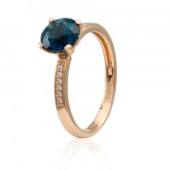Anillo de oro rosa con Topacio Azul London Blue y Diamantes