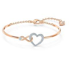 Pulsera Infinity Heart SWAROVSKI 5518869, blanco, acabados metálicos