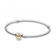 Pulsera Pandora 599380C00-18 corazón cúpula oro