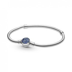 Pulsera Pandora Moments Sparkling Blue Disc 599288C01-17 plata