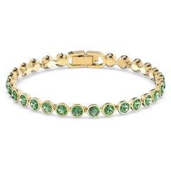 Pulsera Swarovski Tennis 5555824 verde baño tono oro