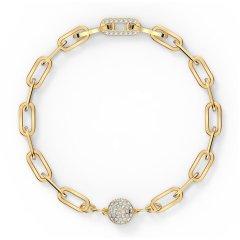 Pulsera Swarovski The Elements Chain 5560666 blanco baño tono oro