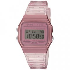 Reloj Casio F-91WS-4EF unisex transparente silicona rosa