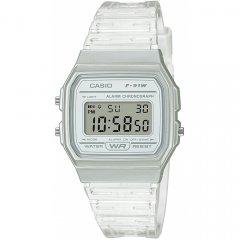 Reloj Casio F-91WS-7EF unisex  transparente silicona.