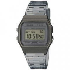 Reloj Casio F-91WS-8EF unisex transparente silicona negro.