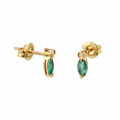 principal Pendientes oro con esmeraldas y diamantes Bernat Rubí 02-153768E