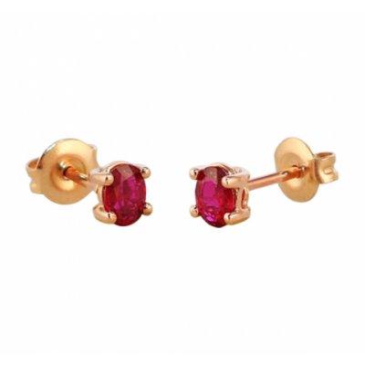 principal Pendientes oro rosa y rubís Bernat Rubí 153752R