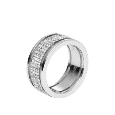principal Anillo Fossil JF00442040505 Mujer Acero Cristal Plateado