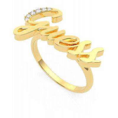 principal Anillo GUESS UBR70020-54 mujer acero dorado