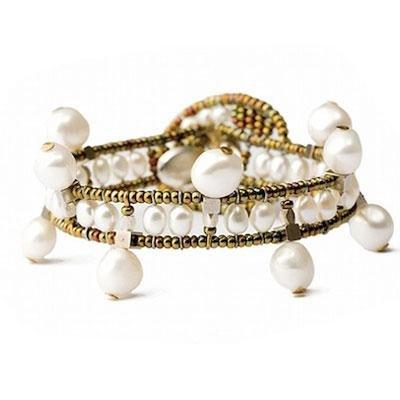 principal Brazalete Ziio jewelry BR CROW PEARL Mujer Plata Dorado Perla