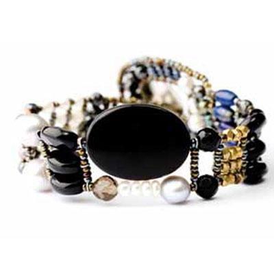 principal Brazalete Ziio jewelry BR THIN BLACK ONIX Mujer Plata Negro Perla