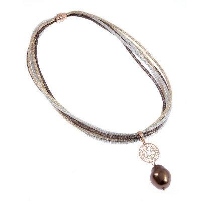 principal Cadena y colgante Ippocampo jewels IPPE18 Mujer Plata Marrón Perla