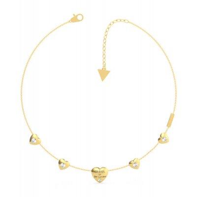 principal Collar GUESS corazones UBN70029 acero dorado