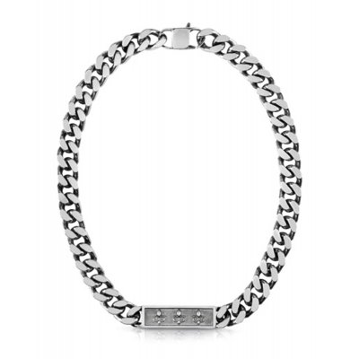 principal Collar Guess Curb UMN70002 hombre acero gris