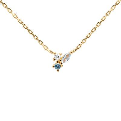 principal Collar  P D PAOLA Midnight Blue Gold CO01-176-U Mujer plata en dorado circonitas color.
