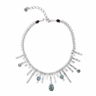principal Collar Uno de 50 COL1349AZUMTL0U mujer plateado cristal azul montana
