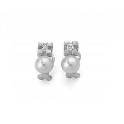 principal Pendientes Botón Antonelli 242681 Mujer Oro blanco Diamante