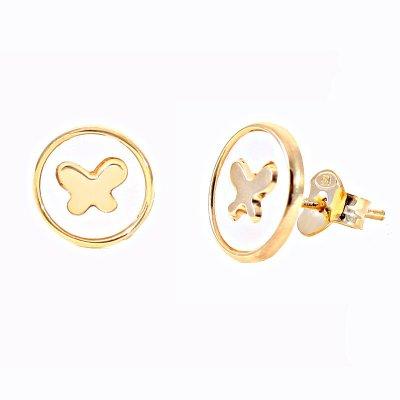 e908a2203035 Pendientes Botón La Petra 458 Niña plata chapada en oro mariposa nácar -  Joyería Francisco Ortuño
