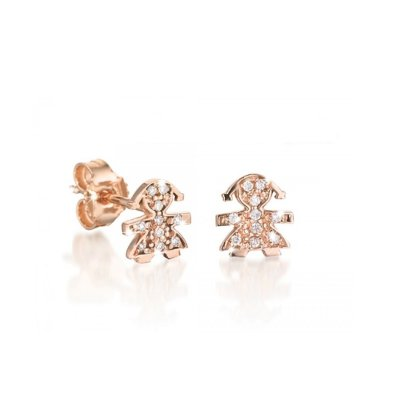 principal Pendientes Botón leBebé gioielli LBB332 Mujer Oro Rosa Niña
