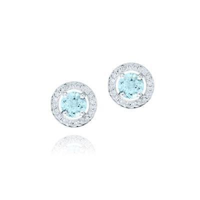 principal Pendientes Botón Rosa Clará HELIOS RCA2 Mujer Oro blanco Diamante