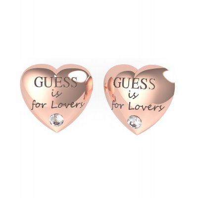 principal Pendientes corazón GUESS UBE70106 acero oro rosa