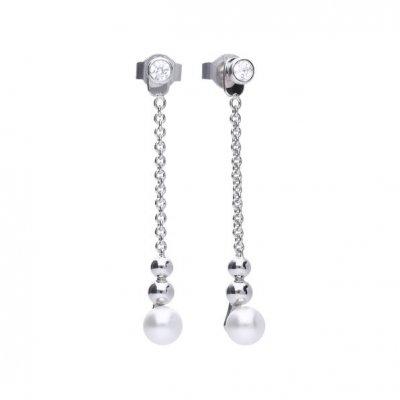 principal Pendientes largos DIAMONFIRE 6218711111 mujer plata perlas